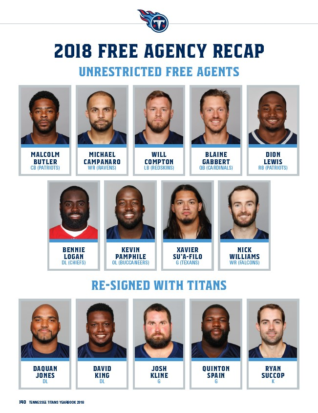 5c87e7f5 2018 Free Agency Recap Unrestricted Free Agents 140 Tennessee Titans  yearbook 2018 Re-Signed with Titans Malcolm Butler CB (Patriots) DaQuan  Jones DL ...