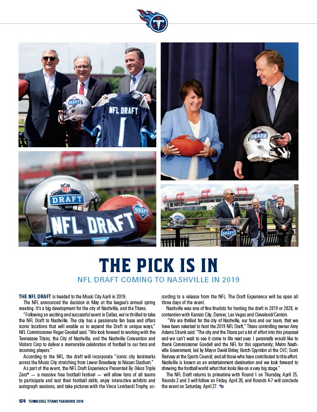 440445cd 154 Tennessee Titans yearbook 2018 The Pick is In NFL Draft Coming to  Nashville in 2019 The NFL Draft is headed to the Music City April in 2019.