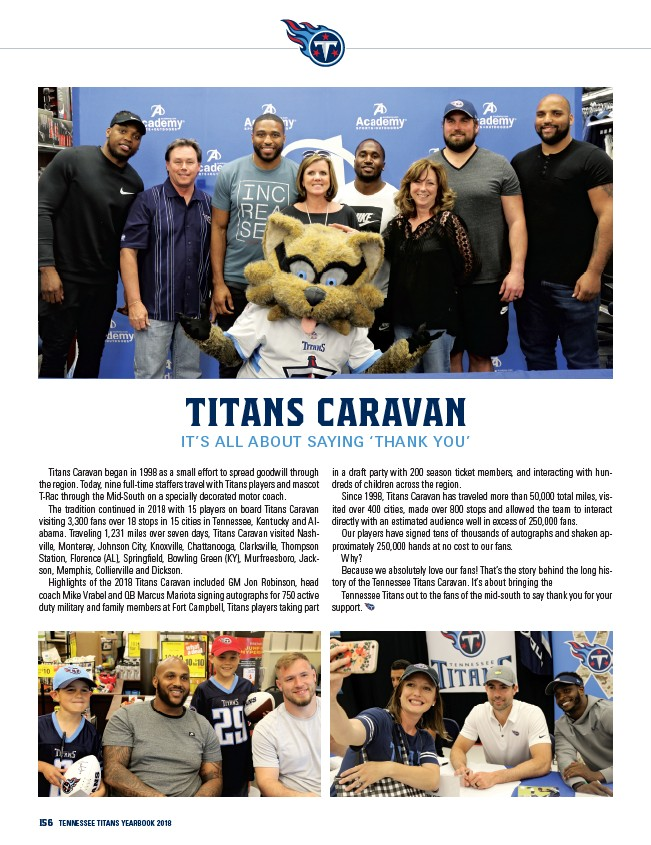 84438597 156 Tennessee Titans yearbook 2018 Titans Caravan It's All About Saying  'Thank You' Titans Caravan began in 1998 as a small effort to spread  goodwill ...