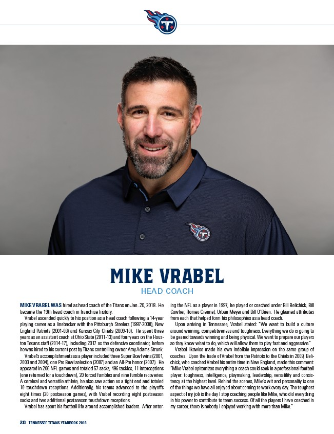 3e57e550 20 Tennessee Titans yearbook 2018 mike vrabel head coach Mike Vrabel was  hired as head coach of the Titans on Jan. 20, 2018. He became the 19th head  coach ...