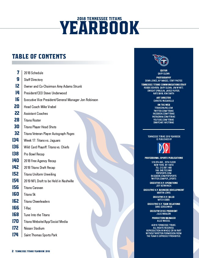 e6a0c0fe 2 TENNESSEE TITANS YEARBOOK 2018 2018 TENNESSEE TITANS YEARBOOK EDITOR GARY  GLENN PHOTOGRAPHY DONN JONES, AP IMAGES, STAFF PHOTOS TENNESSEE TITANS ...