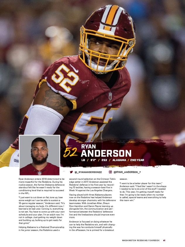 87702d6434b ANDERSON WASHINGTON REDSKINS YEARBOOK 41 52 Ryan Anderson enters 2018  determined to be more impactful for the Redskins. During his rookie season
