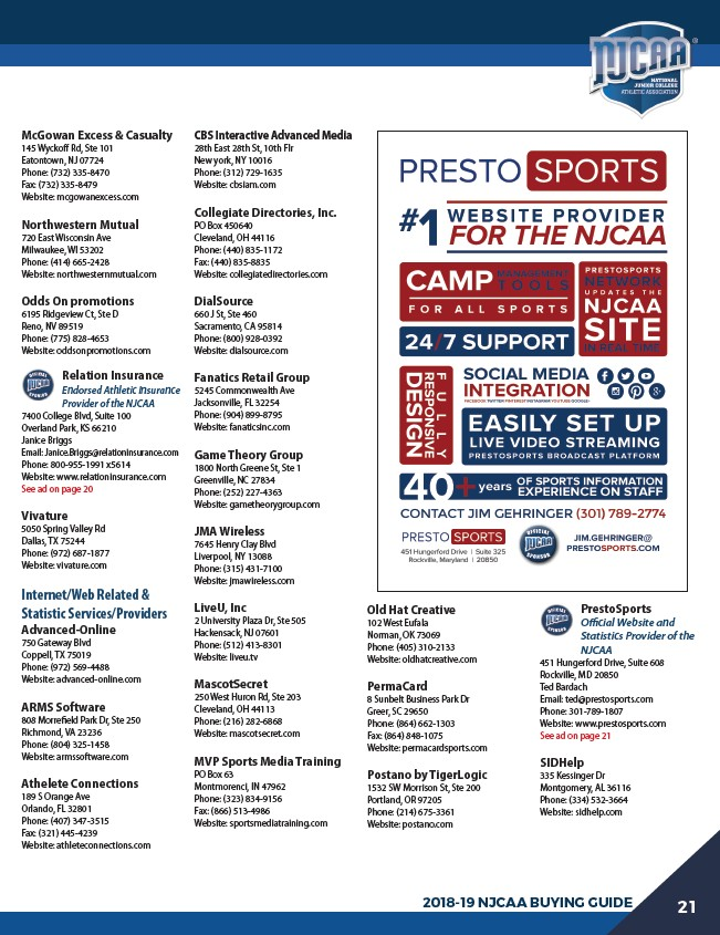 2018-19 National Junior College Athletic Association Buyers