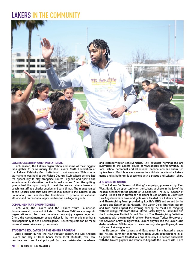 2018-19 LA Lakers Yearbook - Page 230