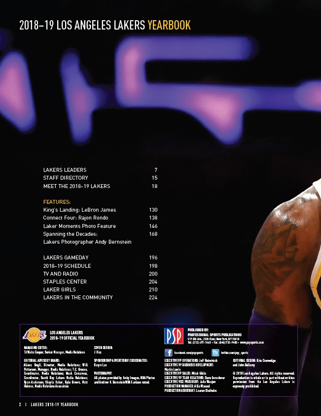 2018-19 LA Lakers Yearbook - Page 4